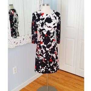 Hugo Boss Black, White & Red Midi 3/4 Sleeve Sz 4